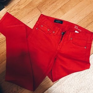 Red Toothpick Ankle Jeans